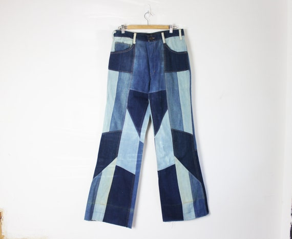 70s patchwork flare bootcut denim jeans