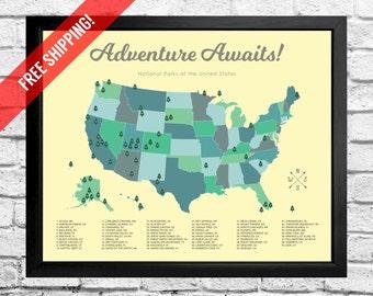 National Parks Map Checklist - Kids - Girl - Play Room - Print