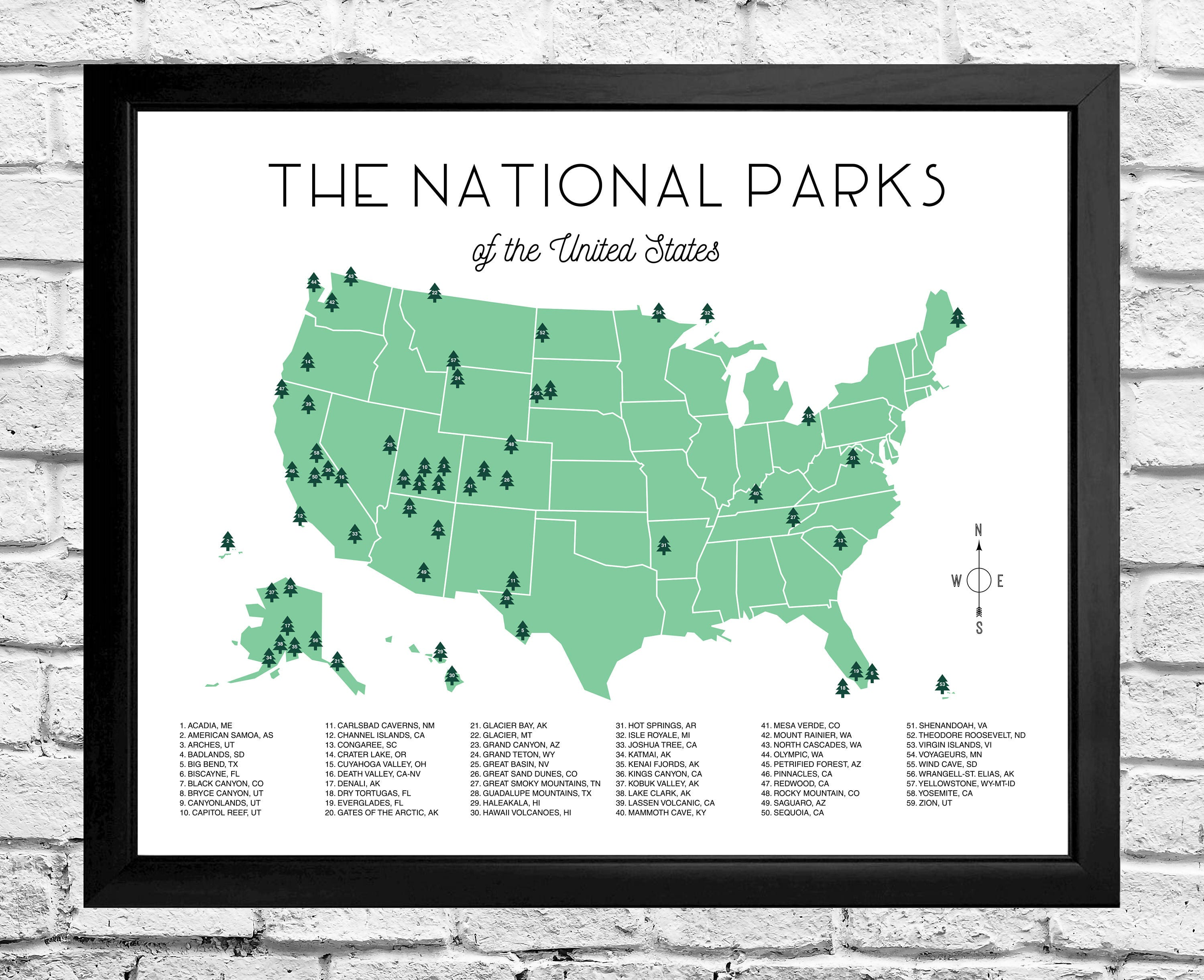 National Parks Map Checklist Instant Download | Etsy on