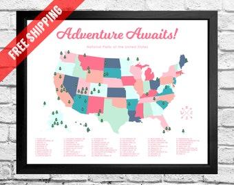National Parks Map Checklist - Kids - Girl - Play Room Art