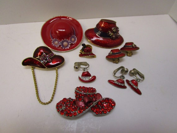 Vintage Red Hat Society Jewelry Lot 10 Pcs Red Hat