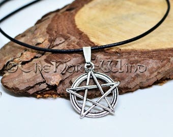 Pentagram Necklace, Wicca Pendant, Pagan Necklace, Tribal Necklace, Pentacle Gothic Jewelry, Wicca Jewelry