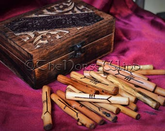 Celtic Ogham Staves + Hand Carved Wooden Box Celtic Tree Woods Divination Runes Set Wicca Gift Set