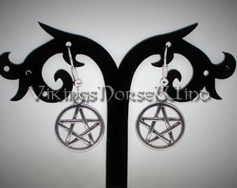 Pentagram Earrings, Wicca Earrings, Pagan Earrings, Tribal Earrings, Pentacle Earrings, Gothic Jewelry, Wicca Jewelry