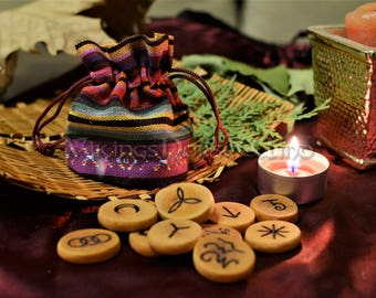 Witches Runes, 13 Wooden Runes Set with Ethnic Pouch Bag, Wiccan Runes Kit, Pagan Runes, Witch Runes, Occult, Witchcraft