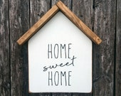 Home Sweet Home Wooden House Shaped Wall Hanging Farmhouse Decor