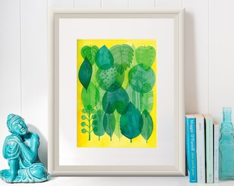 TRANSLUCENT LEAVES / Art Print/Poster/ Illustration by Mariana Oppel/ part of Tropical Illustrations Series/ 8.5 x 11 paper size/ (Unframed)