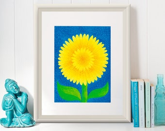 SUNFLOWER Print /Art Print/Poster/ Illustration by Mariana Oppel/ part of Tropical Illustrations Series/ 8.5 x 11 paper size/ (Unframed)
