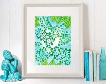 HEART CLOUD /Art Print/Poster/ Illustration by Mariana Oppel/ part of Tropical Illustrations Series/ 8.5 x 11 paper size/ (Unframed)