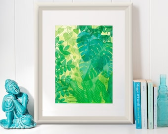 TRANSLUCENT RAINFOREST /Art Print/Poster/ Illustration by Mariana Oppel/ Tropical Illustrations Series/ 8.5 x 11 paper size/ (Unframed)