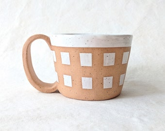 White gingham cup/mug - Hand built, brown speckled clay, hand painted mug. For coffee, tea.