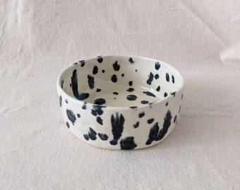 Confetti Collection small bowl - NEW! Moo (black spots) color way - Hand formed in white clay- hand decorated. Snacks, fruit, catchall, etc.