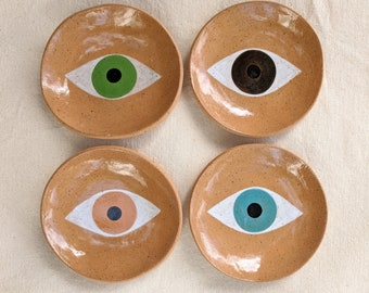 LOVE DIVERSITY Eye plates for jewelry, spices, soap dish, snacks, small keepsakes, palo santo. Brown clay, ceramic small plate hand painted.