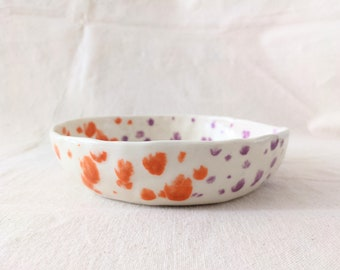 Confetti Collection shallow bowl - NEW! Orange Candy and Lavender color way (half & half) - Hand formed with white clay- hand decorated.
