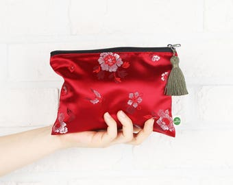Hanbok Tassel Pouch_Deep Red, Korean traditional costume fabric Makeup Pouch  Makeup Bag Travel Pouch Cosmetic Bag Makeup Organizer