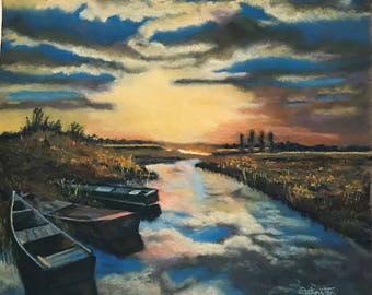 Pastel Painting Sunset on the Bay with Beached Boats Painted by Wendy Johnston