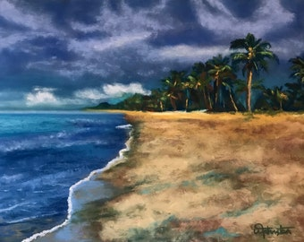 Pastel Painting Beach Palm Trees Ocean Clouds painted by Wendy Johnston