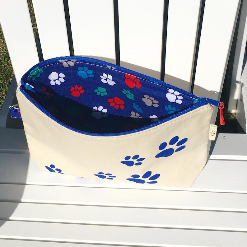 Paw print Puppy prints Toiletry bag Canvas pouch with paw prints Puppy paws zippered pouch zippered pouch