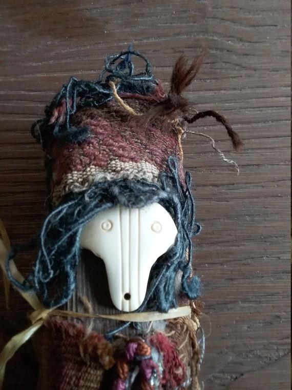 Vintage Shamanvoodoo Doll Rattle With Carved Bone Etsy