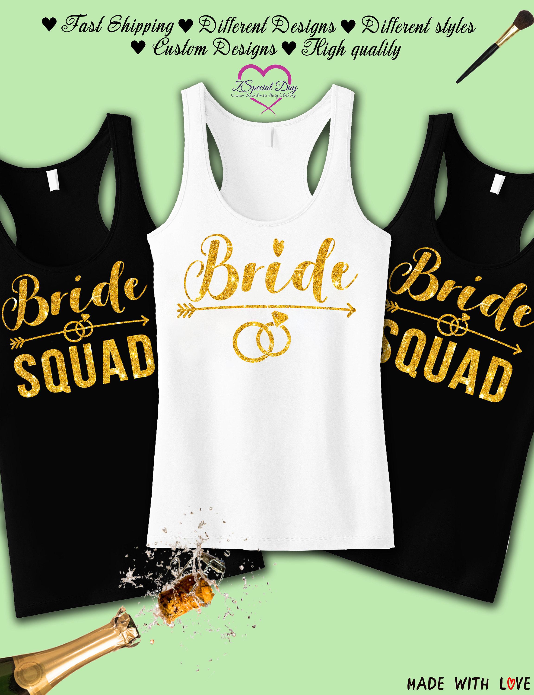 Bride Squad Bachelorette Party Tank Tops Bridesmaid Shirts Etsy