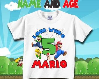 Super Mario Bros Birthday Custom Tshirt Mario tshirt Personalize t-shirt Super Mario