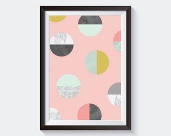 Coral Circles Art Print, Printable Large Poster, Digital Download, Mid-Century Modern