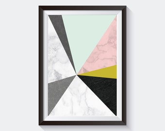 Textured Triangles Art Print, Printable Large Poster, Digital Download, Mid-Century Modern