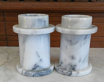White and Black Marble Candle Stick Holder Set 2 Pieces