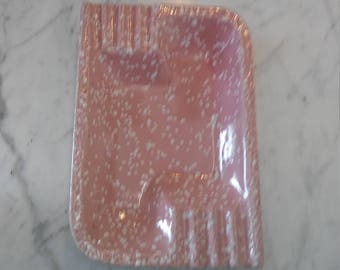 Pink & White Speckled MidCentury Ashtray