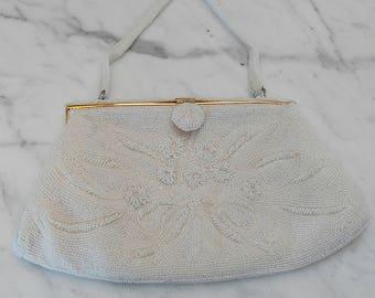 815add99f517 Vintage White Magid Japan Hand Beaded Purse