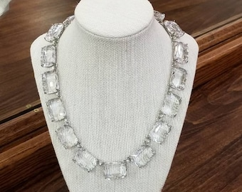 Banana Republic Silvertone Glass Statement Necklace
