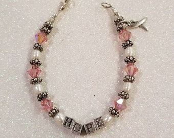 Sterling Silver 925 Pink Crystal Pearl HOPE Breast Cancer Awareness Ribbon Bracelet