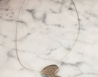Fun Sterling Silver Girl Necklace on Wire Signed POULIN
