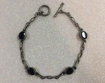 Sterling Silver Blue/Purple Gemstone Bracelet Toggle Clasp