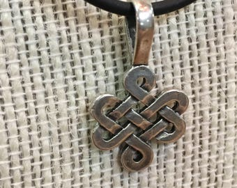 Sterling Silver Celtic Knot Pendant Black Cord Necklace