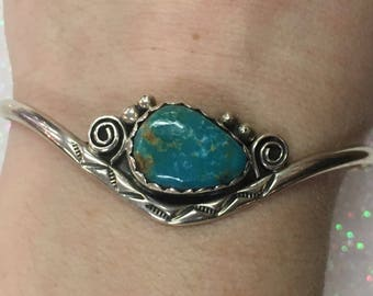 Native American Sterling Silver Turquoise Gemstone Bracelet Cuff