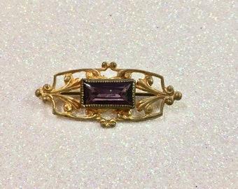 Antique Gold Fill Purple Gemstone Brooch Pin