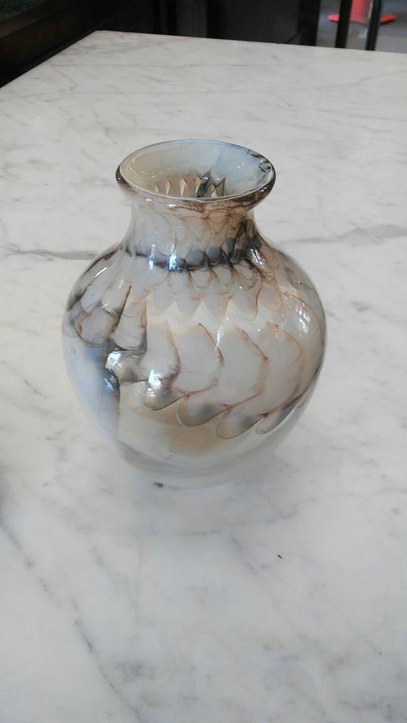 Snake Skin Style Brown Glass Blown Vase Etsy