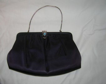 Vintage Ande Purple Satin Clutch/Handbag with Decorative Rhinestone Clasp