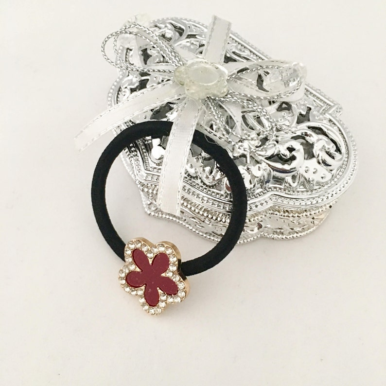 a7bc39ae2 Red and Black Flower with Rhinestone border Hair Tie/ Ponytail | Etsy