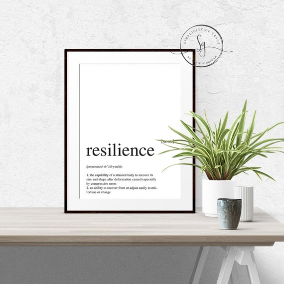 Resilience definition dictionary art print office decor minimalist poster motivational definition print definition poster quotes