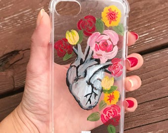 Buy one get one half off / Mexican Corazon Heart hand painted phone case / Iphone 6, 7/ Samsung s7/ hand made/ gift for her/ bridesmaid gift