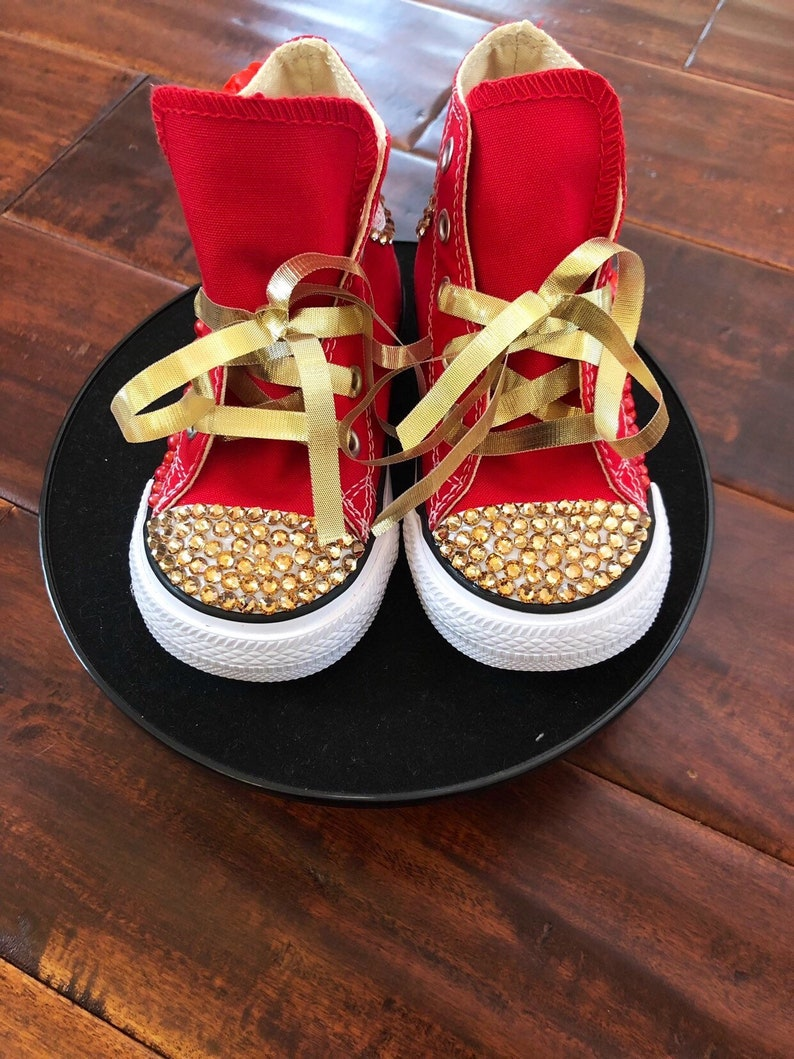 816df1e9261b7 Custom Red And Gold Toddler Converse