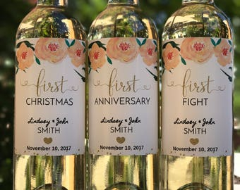 Bridal shower gift etsy wedding milestone wine labels bridal shower gift engagement gift unique wedding gift for couple junglespirit Gallery