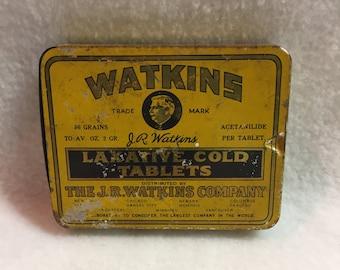 Vintage J.R. Watkins Cold Tablet Tin (#019)