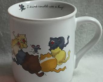 Hallmark Rim Shots Mug - 'I Sure Could Use a Hug' - Mouse and Kitties (#013)