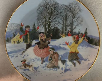 Danbury Mint An Old Time Country Winter Collector Plate - 'Snow Forts' (#248)