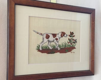 Pointer Dog - Cross Stitch Framed Picture (#004)