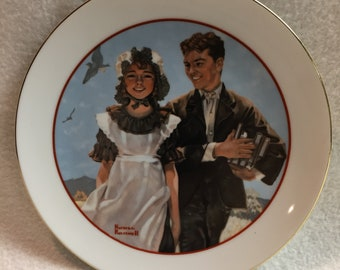 Norman Rockwell - Small 'Young Love' Series Collector Plate - At the Seashore (#342)