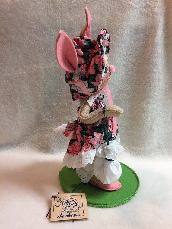 Annalee Dolls Easter Parade Girl Bunny in Pink Floral Dress   Etsy